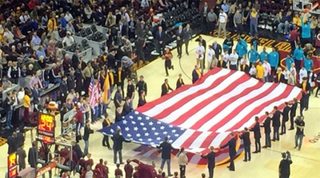 Pack 152 Presenting Colors at the Cavs Game