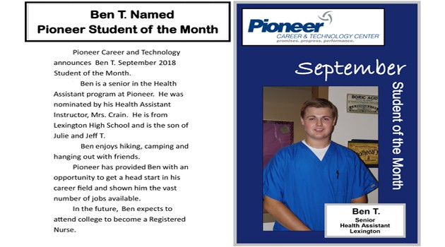 Ben T Named September Pioneer Student of the Month